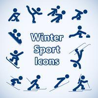 Conjunto de ícones de desportos de inverno vetor