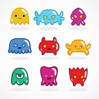 Conjunto de monstros de videogame retrô
