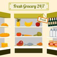 Alimentos frescos de mercearia nas prateleiras das lojas