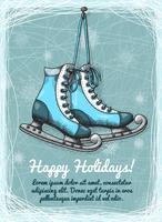 Convite do inverno dos feriados do patim vetor