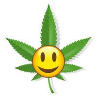 Sorrindo, cannabis, sinal
