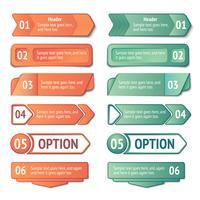Conjunto de banners de opções e títulos de infográficos vetor