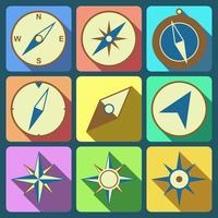 Conjunto de ícones plana de bússola de navegação