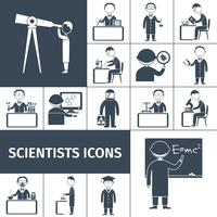 Cientista ícones preto vetor