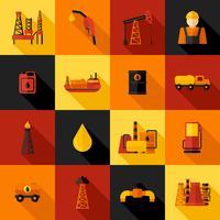 Ícones da indústria de petróleo plana