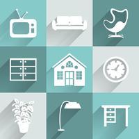 Conjunto de ícones de mobiliário interior vetor
