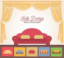 Sofá ou sofá design elementos de cartaz vetor