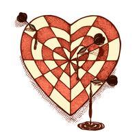Coração em forma de alvo com emblema de setas vetor