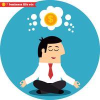 Gerente meditando sobre dinheiro e sucesso