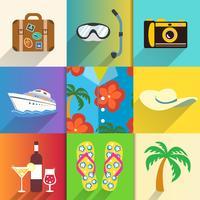 Conjunto de ícones de viagens e férias