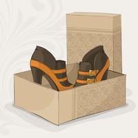 Botas de tornozelo marrom e amarelo da menina elegante vetor