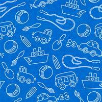 Padrão de brinquedos de crianças sem costura doodle vetor