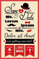 Cartão de convite de casamento no estilo hippie