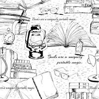 Livros preto e branco, lendo sem costura vetor