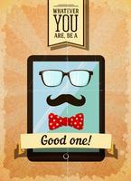 Cartaz de hipster com tablet vintage
