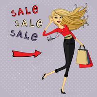 Anúncio de venda de moda, menina com sacos de compras vetor