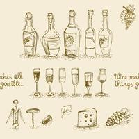 Conjunto de garrafas de vinho e copos vetor
