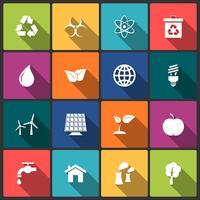 Conjunto de ícones de ecologia vetor