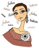 Retrato de mulher bonita moda vetor