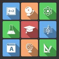 Iconset para aplicativo educacional vetor