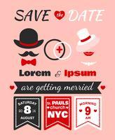Cartão de convite de casamento hipster vetor