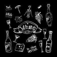 Vinho, jogo, chalkboard vetor