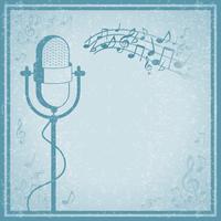 Microfone com música no fundo vintage vetor