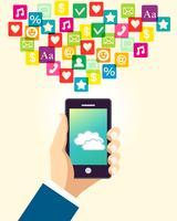 Mão negócio, usando, smartphone
