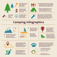 Elementos de infográfico de acampamento e turismo vetor