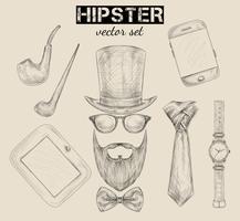 Conjunto de acessórios hipster mão desenhada
