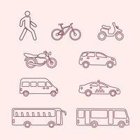 Ícones de transporte de pedestre, bicicleta, scooter, táxi, ônibus vetor