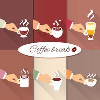 Mãos de negócios oferecendo bebidas quentes de café vetor