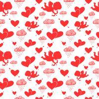 Amor Cupidos corações flechas e nuvens sem costura padrão