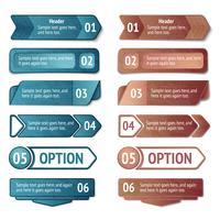 Opções de infográficos de papelão retrô vetor