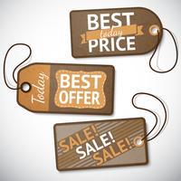 Conjunto de tags de venda de papelão de varejo