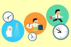 Gerente começando seu dia de trabalho ocupado vetor