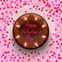 Cacao e chocolate valentine pie decorado com morangos