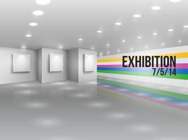 Convite de publicidade de anúncio de exposição vetor
