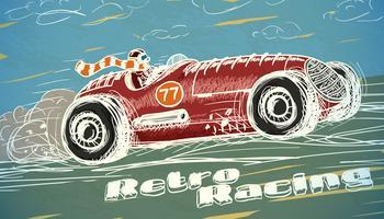 Cartaz de carro de corrida retrô vetor
