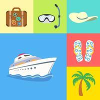 Férias de férias e conjunto de ícones de viagens