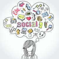 Doodle sonhos e pensamentos de mídias sociais