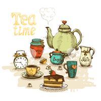 Hora do chá ainda vida vetor