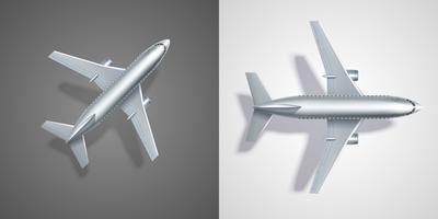 Ícones de avião voando em preto e branco vetor