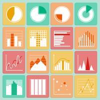 Conjunto de ícones de gráficos e gráficos de apresentação de negócios vetor