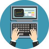 Mão de negócios no teclado do notebook vetor