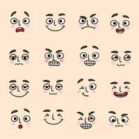 Conjunto de ícones de expressão de humor facial vetor