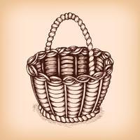 Emblema de cesta de vime vetor