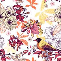 Sem costura padrão floral com pássaro vetor