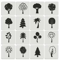 Elementos de design de árvores de floresta verde