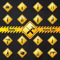 Caixa de ferramentas atenção sinais amarelos e pretos
